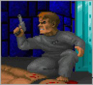B.J. Blazkowicz kills a guard and escapes his cell.