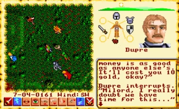 Scene from Ultima VI in which the Avatar has sex with prostitutes