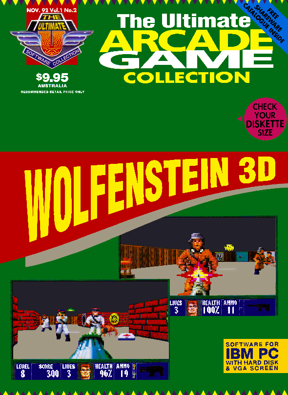 The Ultimate Arcade Game Collection November 92 Volume 1 Number 2 - Wolfenstein 3D on the cover